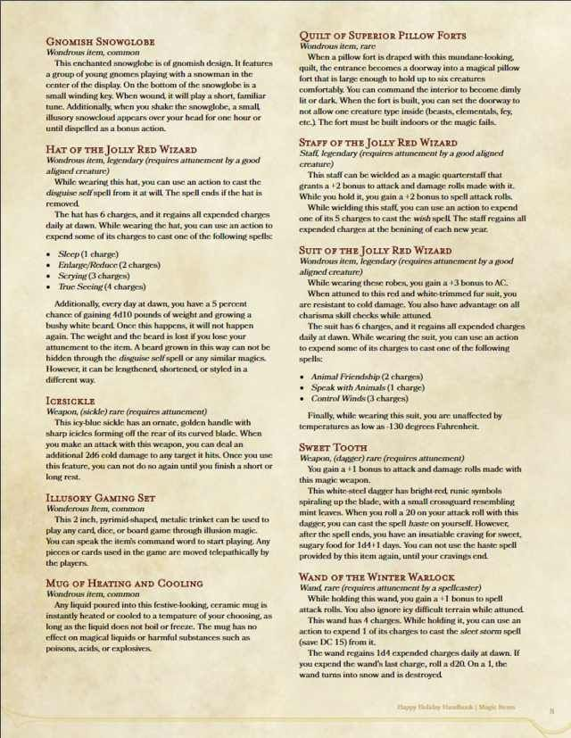 The Happy Holidays Handbook Dungeons And Dragons Dnd 5e