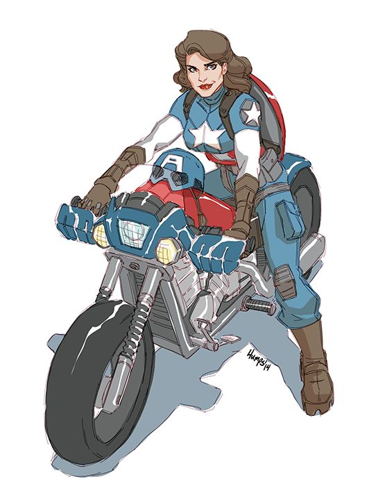 """americanninjax: """" Been wanting to doodle Peggy Cap ever since that text post a few days ago. I MAY prefer this to Steve haha. She's SUCH a competent agent to start with and give her super soldier abilities and holy crap. (quick edit. forgot to color..."""