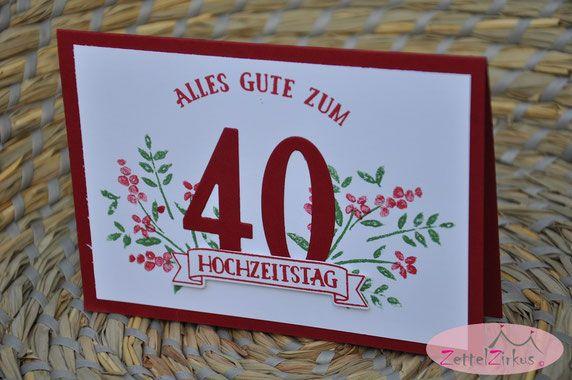 Stampin Up beim ZettelZirkus: Hochzeitskarte, Jubiläum, Rubinhochzeit, Chili, So viele Jahre