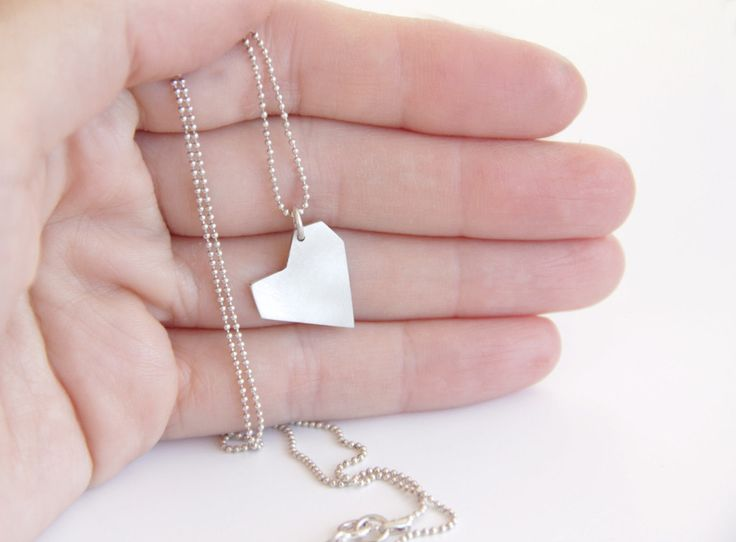 Sterling Silver Asymmetrical Heart Necklace