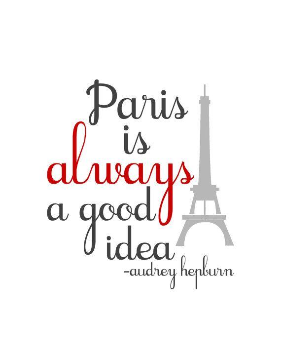 #Typographic #poster: Paris is Always a Good Idea Audrey Hepburn di TheBellaPrintShop