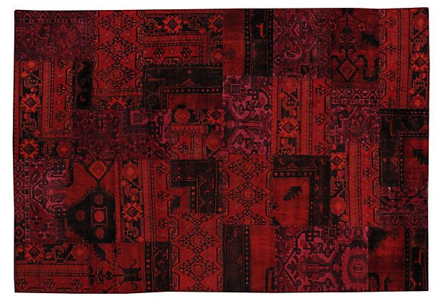 "Red Overdyed Patchwork Rug, 6'1"" x 9'1"" on OneKingsLane.com"