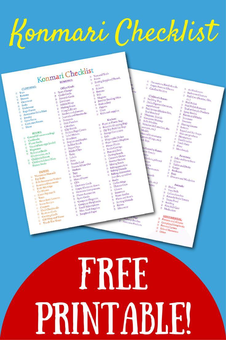 Free Printable Konmari Checklist Colorful Pdf My