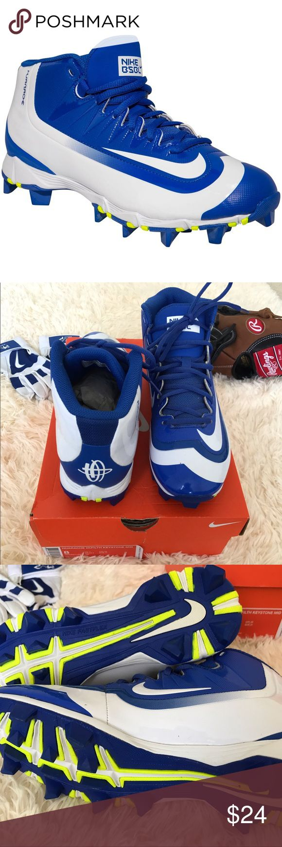 Nike 🔹Huarache 2KFilth Keystone Baseball Cleats⚾️ You will be ready to run the bases or make a big catch when they have the Nike Huarache 2KFilth Keystone baseball cleat on. ⚾️ In great condition 😊 10/10 👍🏽 Clean / Box will be included Color : Blue / White / Yellow  Material :  Low-cut, synthetic leather upper for lightweight support. Mesh collar and tongue ventilate for cool comfort. Solid rubber outsole has 12 carefully positioned cleats. Low-top great ankle mobility and a low to the…