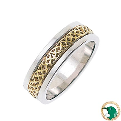 Liberty Celtic ring - Ladies.  Style pictured this smart 18ct Celtic band features a yellow gold Celtic weave overlaying a white gold solid band. 6.6mm width.   Represents self-determination, giving independence and freedom.