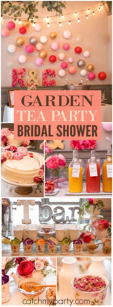 You have to see this gorgeous garden bridal shower with a tea bar! See more party ideas at CatchMyParty.com!