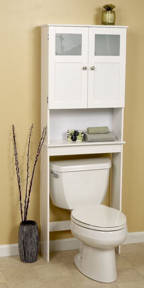 Bath Storage Space Saver Over The Toilet Shelf White Frosted Bathroom Cabinet For The Home