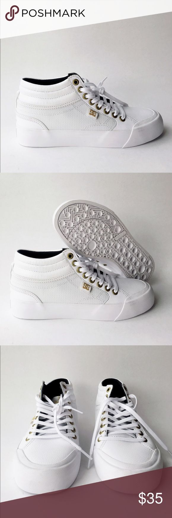 DC Evan HI Skate Shoe CONDITION: This is a brand new sample shoe. Never worn!  FEATURES: * Leather * Imported * Rubber sole * Shaft measures approximately high-top from arch * DC's Impact-I Inflexion Vulcanized Technology * Rubber toe cap DC Shoes Sneakers