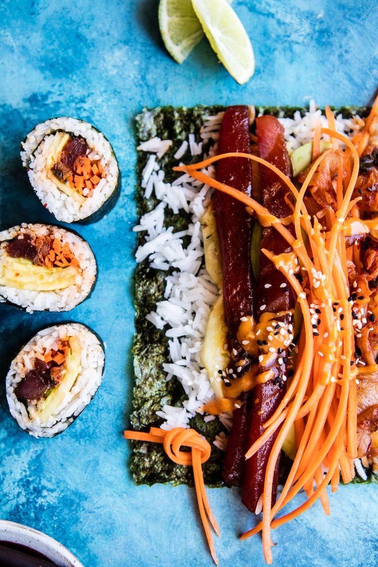 Korean Avocado Tuna Sushi Roll | halfbakedharvest.com @hbharvest via @hbharvest