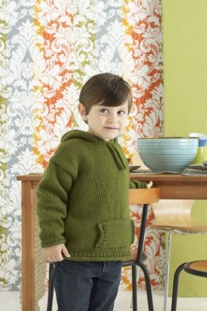 Free Knitting Pattern 80748AD Kids' to Adult Hoodie : Lion Brand Yarn Company