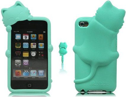 Boriyuan Fashion 3D Kiki Cat - Cut cat Gel Silicone Rubber Silicone Case Cover Skin For Apple iPod Touch 4 4th Gen Generation(Back Case) Color Blue