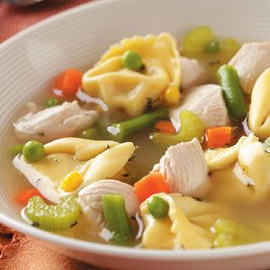 Chicken Tortellini Soup Recipe -This recipe puts a different spin on traditional chicken noodle soup. I like to use cheese tortellini instead of plain noodles for a pleasant and filling change of pace. This easy creation has become a family favorite that I can count on often. —Jean Atherly, Red Lodge, Montana