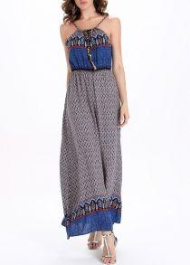Богемских Спагетти ремень Tie-Front Женская Этническое платье