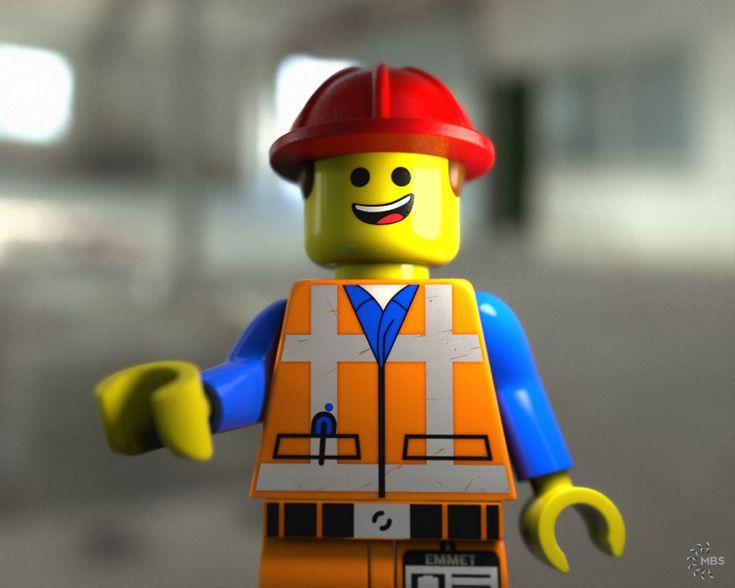 LEGO Macro shot - Emmet. Modeled in NX, rendered in KeyShot.