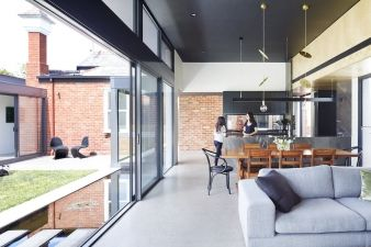 Indoor-outdoor living was a priority with this project, and easily achieved with large sliding glass doors