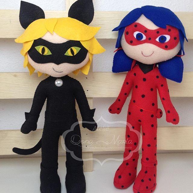 Miraculous - Cat Noir e Ladybug  #feltro #miraculous #festainfantil #feitoamao #miraculousladybug #ladybug #catnoir