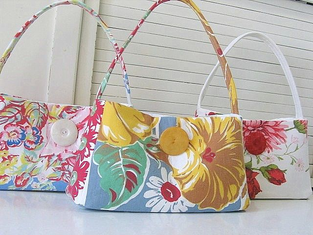 Upcycled vintage tablecloth purses