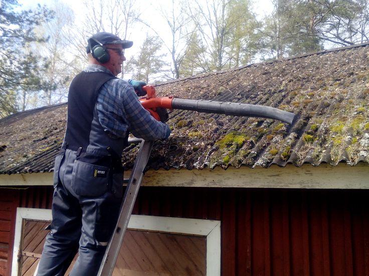 Kohde tällä kertaa Kaislajärven leirikeskus... vedet talven jäljiltä päälle, katot puhtaiksi ja ko!rut tyhjiksi. Välineistö onpi viime keväisestä hieman muuttunut. Vuosi sitten työntelin lumikolalla viereisten mökkejen katoilta sammalta, puittenlehtiä ja muuta maatuvaa mössöä alas, Nythän työ luistaa kuin siimaa, kun on mukana lehtipuhaltimet ja etenkin nämä läppärit. Eiku käy kateeksi kun pikkumyyrät on kevät askareissaan?
