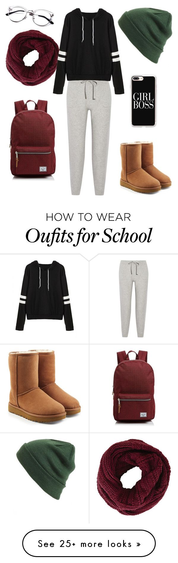 """""""Cozy School Outfit"""" by lampron7 on Polyvore featuring BP., Casetify, Herschel Supply Co., BCBGMAXAZRIA, UGG and Allude"""