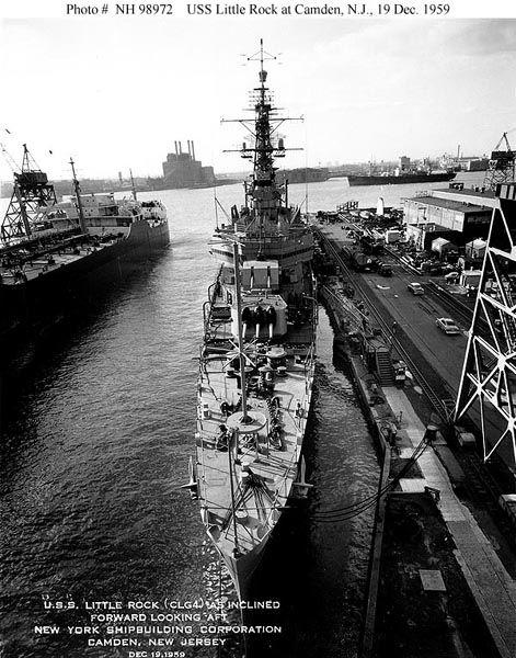 USS Little Rock berthed at the New York Shipyard in Camden, NJ December 19, 1959