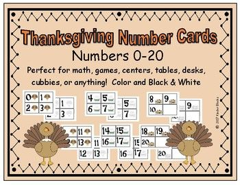 These number cards were created for a Thanksgiving theme, or just for fun. These cards cans be used for multiple purposes such as math, games, table numbers, cubbie labels, centers, and many more. I have provided three different sets of turkey themed number