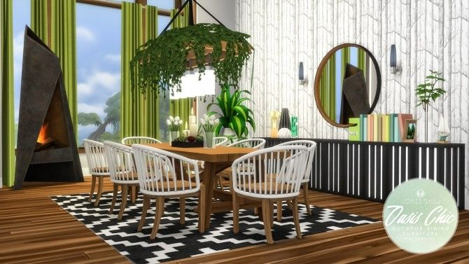 Oasis Chic Dining Outdoor Set By Simsational Designs For The Sims 4