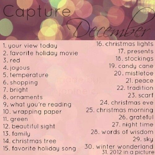 Instagram December photo challenge!