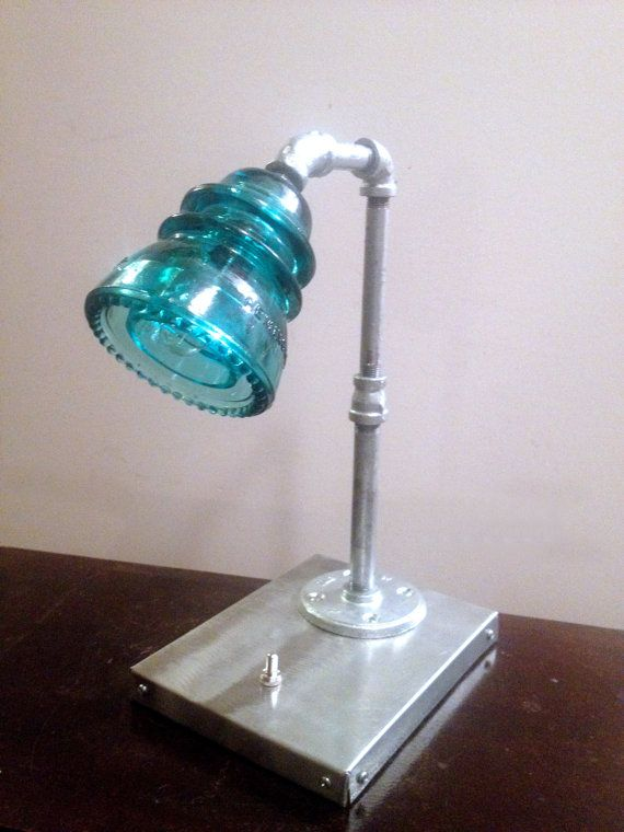 Glass Insulator Desk Lamp by HaywoodLighting on Etsy, $149.00