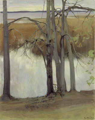 Pekka Halonen, Lake Shore with Reeds, 1905