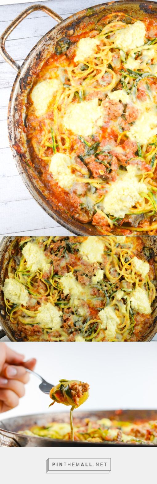 """""""Baked Ziti"""" with zucchini #zoodles #noodles with ground turkey, ricotta cheese, tomatoes and mozzarella. #lowcarb #healthy"""