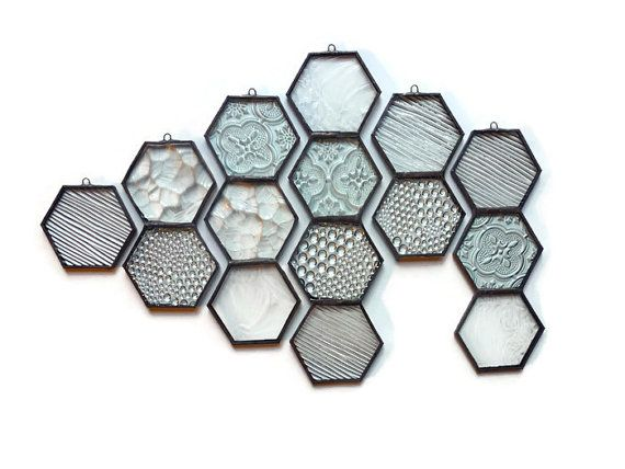 Stained Glass Honeycomb - Clear Textured Glass Hexagon Suncatcher Home Decor Window Ornaments