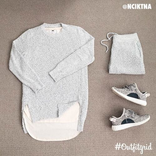 Today's top #outfitgrid is by @nkictna. ▫️#Margiela #Bouclé #Top & #Shorts ▫️#Topman #Tee ▫️#Adidas #YeezyBoost350 #flatlay #flatlayapp #flatlays