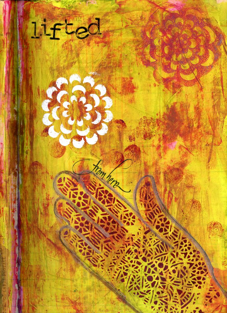 """Vintage Time Book Journal - """"Lifted from Here, Page 2 of 2"""".  Acrylics, stencil and calligraphy.  BananaCurlGirl.com"""