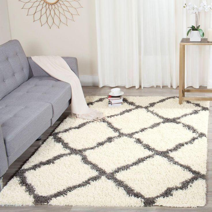 dallas shag ivorydark gray 4 ft x 6 ft area rug