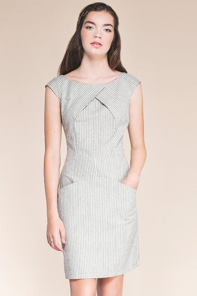 Aegean Dress by Jennifer Glasgow.  Pinstriped dress with lovely folds on the bodice.  Cap sleeves and inset pockets.