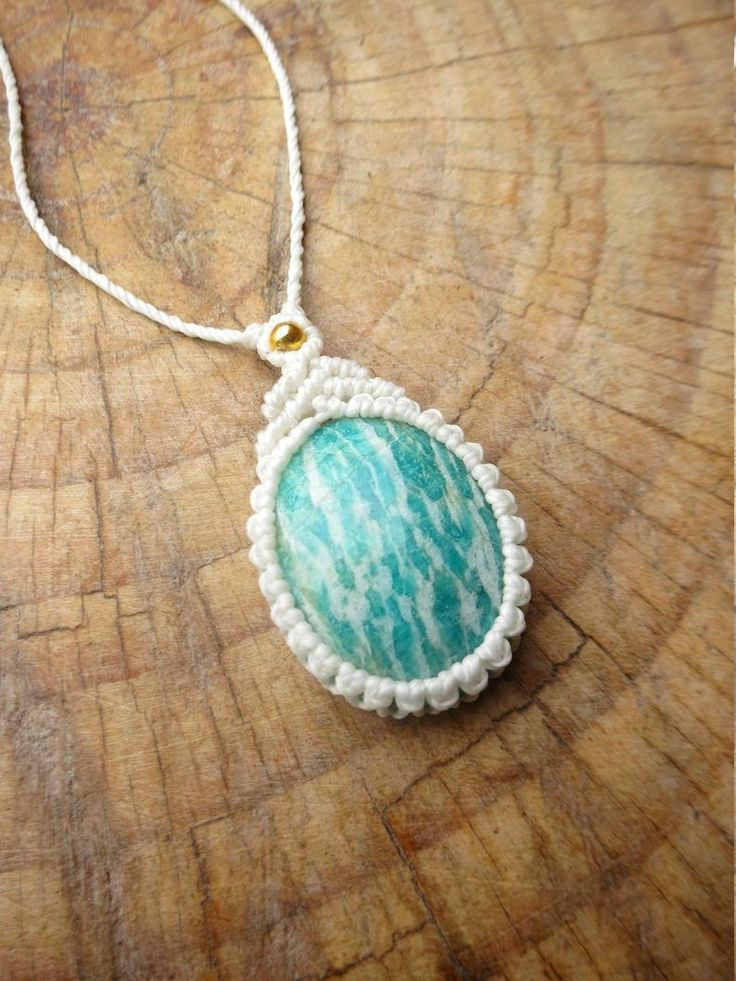 Bohemian chic necklace, Amazonite stone pendant, macrame necklace