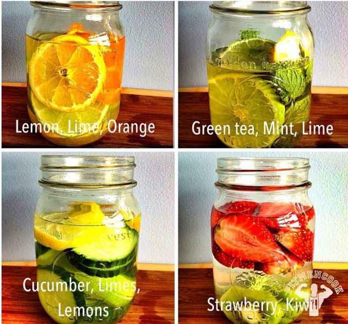 Here are 4 waters and their benefits.  1 - Lemon, Lime  Orange: Digestion, vitamin C, Immune Defense, heartburn.   2 - Green tea, Mint  Lime: fat burning, digestion, headaches, congestion, breath freshener  3 - Cucumber, Limes  Lemons: water weight management, bloating, appetite control, hydration, digestion  4 - Strawberry Kiwi: cardiovascular health,immune system protection, blood sugar regulation, digestion.    Do NOT keep fruit in the same bottle longer than 48hrs.