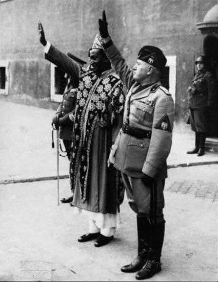 Historical photo:- Abba Jobir (the grandson of Jimma Abba Jifar) with Benito Mussolini in Rome, 1937.  In 1932, Emperor Haile Selassie took over the direction of Jimma's internal affairs from Abba Jifar's grandson, Abba Jobir, who was imprisoned for failure to cooperate with the central government. Several years later the Italians came to Jimma, liberated Abba Jobir, and used him as a native governor. With the return of the Emperor to Ethiopia in 1941, however, Abba Jobir was put in jail…