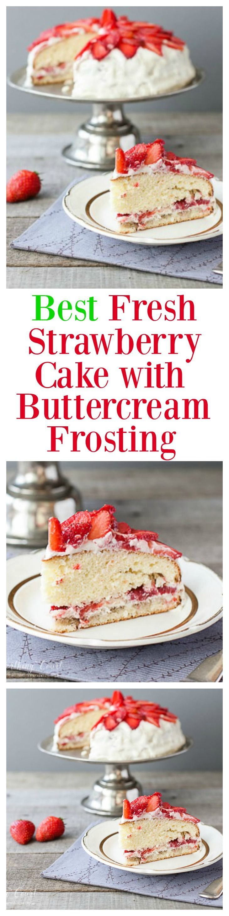 This strawberry cake recipe is one of my favorite ways to enjoy fresh strawberries. It's easy to put together because it starts out with white cake mix and strawberry gelatin. Only a few more ingredients are needed. It has the best strawberry flavor and is wonderfully moist. The only thing that makes the cake better is the buttercream frosting!