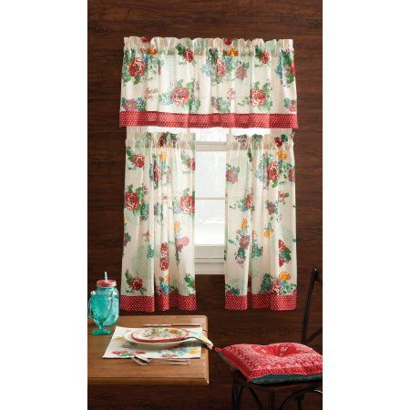 pioneer woman kitchen curtain and valance 3pc set country garden - Kitchen Valances Ideas