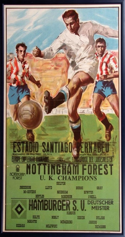 Gran cartel a color oficial y atractivo para el partido disputado en el estadio Santiago Bernabu de Madrid el da 28 mayo de 1980, Nottingham Forest vs Hamburgo SV Copa de Europa de 1980