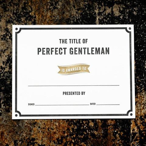 Gentleman Award Certificate from Izola.com