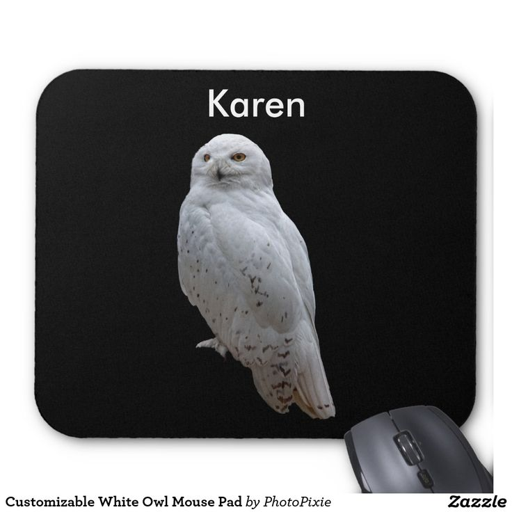 Customizable White Owl Mouse Pad
