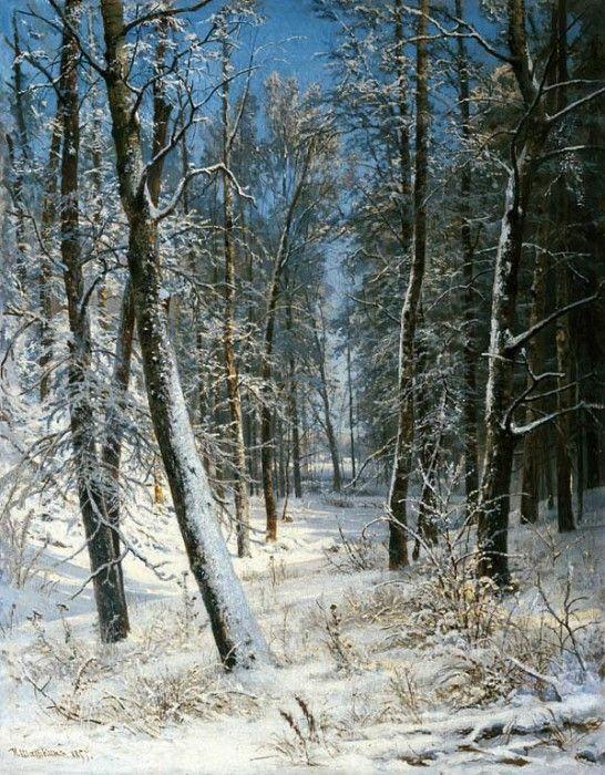 Зима в лесу, иней 1877 40х25. Иван Иванович Шишкин