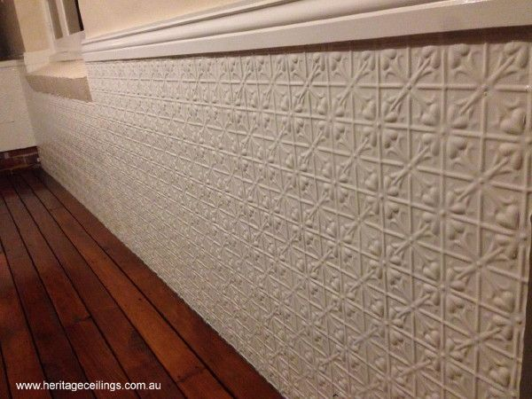 A close-up shot of the Lachlan Hearts panels lining the walls of this verandah. Find out more about this pattern here: http://www.heritageceilings.com.au/tempat/lachlanhearts.php