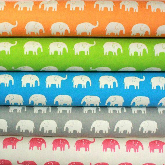 1 Yard Japanese Elephant Fabric in Tangerine,  light weight cotton canvas. $16.00, via Etsy.