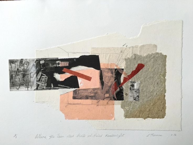 ELAINE d'ESTERRE - 'Where Sun Met Rock at Point Roadknight', 2016, intaglio, handmade paper and chine-colle,  24x 48 cm by Elaine d'Esterre at http://elainedesterreart.com and http://www.facebook.com/elainedesterreart/ and http://instagram.com/desterreart/