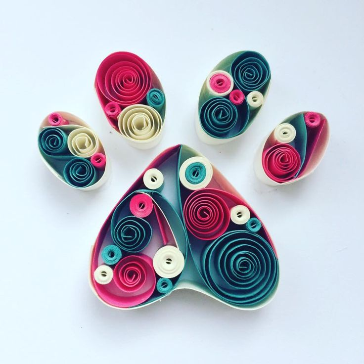 Paw print paper quilling art handmade gifts, personalised home decor