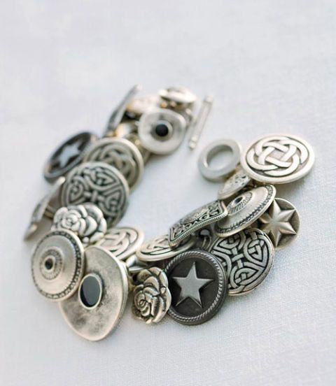 instructions for making - silver button bracelet