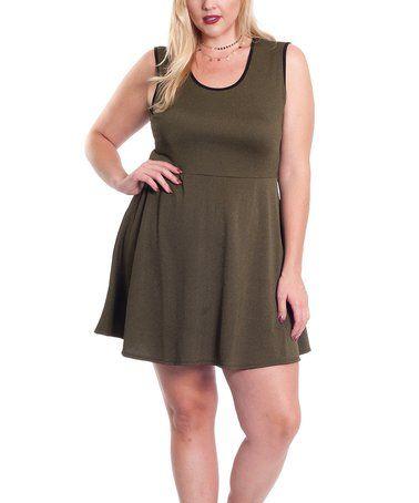 Look what I found on #zulily! Olive Sleeveless Skater Dress - Plus #zulilyfinds